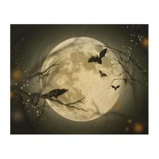 Halloween-Mond-gespenstische Krähen Holzdruck