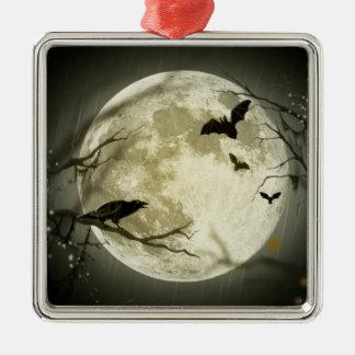 Halloween-Mond-gespenstische Krähen Silbernes Ornament
