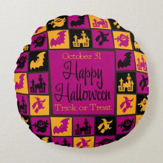 Halloween-Mosaik Rundes Kissen