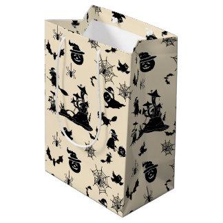 Halloween-Muster mit Kürbisschlägerhexen Mittlere Geschenktüte