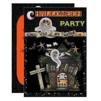 Halloween - niedliches Spuk Geist-Haus (2) 8,9 X 12,7 Cm Einladungskarte