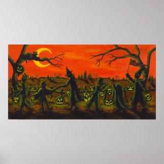 Halloween-Parade, Hexe, Clown, schwarze Katzen Poster