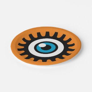 Halloween-Party-PapierTeller: Auge (orange) Pappteller