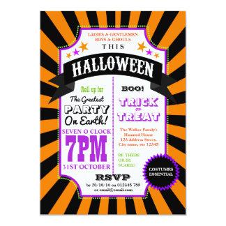 Halloween-Party-schwarzer und orange Karneval Karte