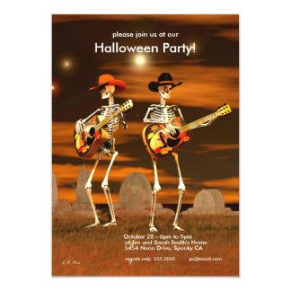Halloween-Party-Skelett-Musiker 12,7 X 17,8 Cm Einladungskarte