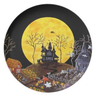 Halloween, Platte, Geister, Spuk, Haus, Hexe Teller