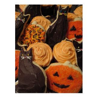 Halloween-Plätzchen-Katzen und Kürbise Postkarte