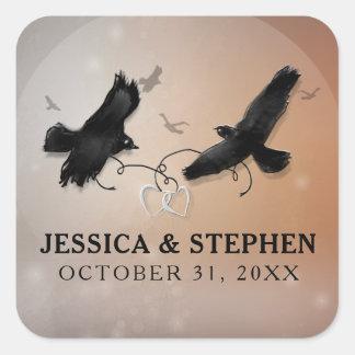 Halloween-Raben mit Herzen Wedding Quadrat Quadratischer Aufkleber