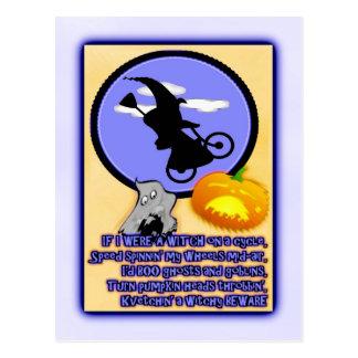 Halloween-Radfahrer-Hexe Postkarte