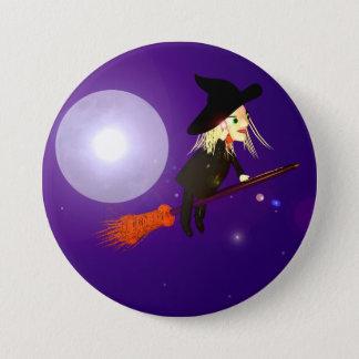 Halloween-Radioapparat-Hexe Runder Button 7,6 Cm