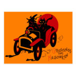 Halloween Retro Vintage Kitschjalopy-Hexe u. Katze Postkarte