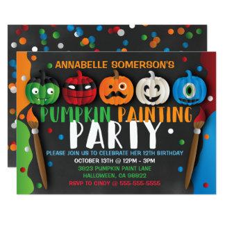 Halloween scherzt Kürbis-Malerei-Party Einladung