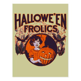 Halloween scherzt Kürbismädchen Postkarte