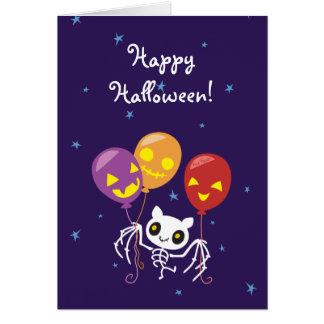 Halloween-Schläger-Skeleton Fliegen mit Ballonen Grußkarte