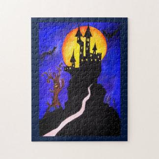 Halloween-Schloss-Baum-Foto-Puzzlespiel mit Puzzle