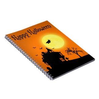 Halloween-Silhouette-Landschaft - Notizbuch Spiral Notizblock