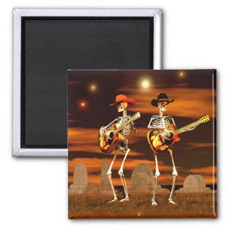 Halloween-Skelett-Konzert Quadratischer Magnet