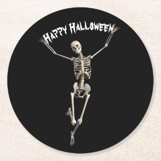 Halloween-Skelett Runder Pappuntersetzer