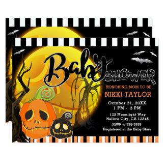 Halloween-smiley-Kürbis-Mondschein-Babyparty Karte