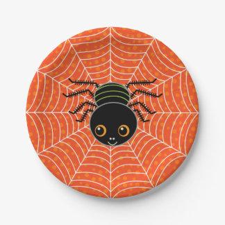 Halloween-Spinne auf Netz Pappteller