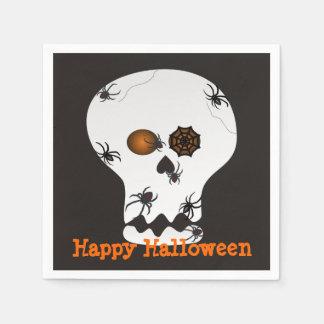Halloween-Spinnen auf Schädel-Party-Servietten Papierservietten
