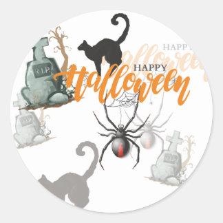 Halloween-Spinnen-Grab Runder Aufkleber