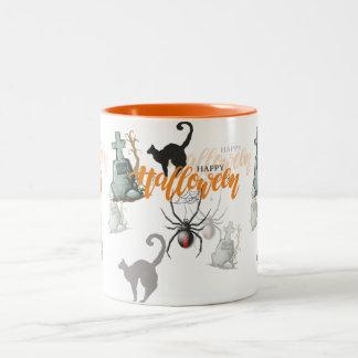 Halloween-Spinnen-Grab Zweifarbige Tasse