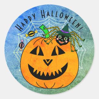 Halloween-Spinnen-Hexe und Kürbis Runder Aufkleber