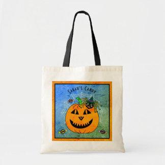 Halloween-Spinnen-Hexe und Kürbis-Trick oder Tragetasche