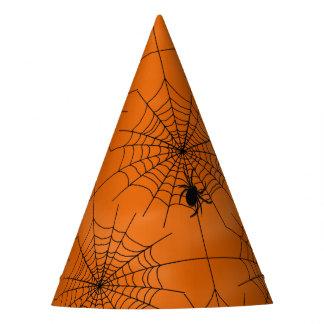 Halloween-Spinnen-Netz mit Spinne auf Orange Partyhütchen