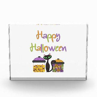 Halloween-Süßigkeits-schwarze Katze Acryl Auszeichnung