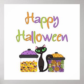 Halloween-Süßigkeits-schwarze Katze Poster