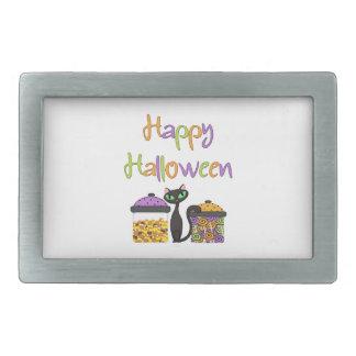 Halloween-Süßigkeits-schwarze Katze Rechteckige Gürtelschnalle