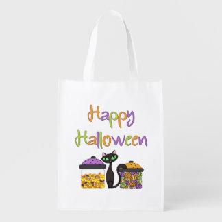 Halloween-Süßigkeits-schwarze Katze Wiederverwendbare Einkaufstasche