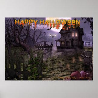 """Halloween-Szene 28"""" x 20"""" Plakat mit Text"""
