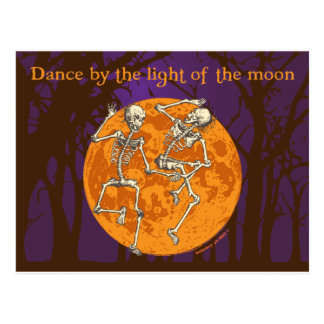 Halloween-Tanzen-Skelett-Mond Postkarte