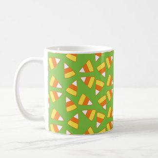 Halloween-Tasse, Süßigkeits-Mais-Muster, Grün u. Kaffeetasse