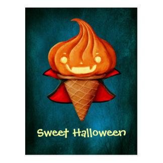 Halloween-Vampirs-Kürbis-Eiscreme Postkarte