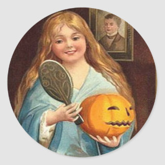 Halloween-Vintage Dame With Mirror) Runder Aufkleber