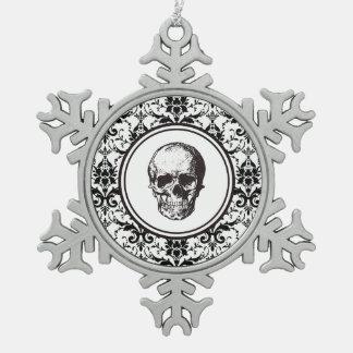HALLOWEEN-WEIHNACHTENschwarz-Damast-Muster-Schädel Schneeflocken Zinn-Ornament
