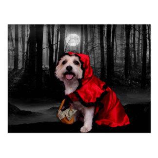 Halloween - Westie - Dame Postkarte