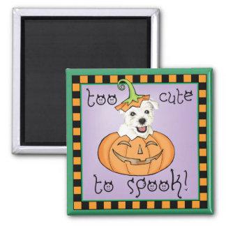 Halloween Westie Quadratischer Magnet