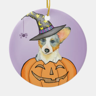 Halloween-Wolljacken-WaliserCorgi Keramik Ornament