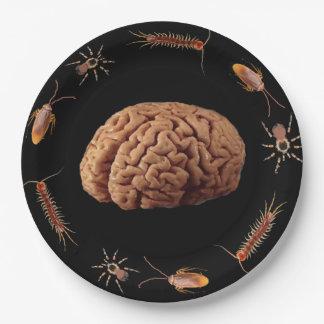 Halloween-Zombie-Gehirne für Abendessen Pappteller