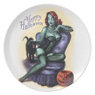 Halloween-Zombie-Mädchen-Button - herauf Party Teller
