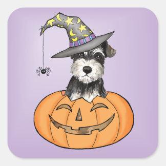 Halloween-Zwergschnauzer Quadratischer Aufkleber