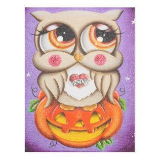 Halloweeneule und -kürbis postkarte
