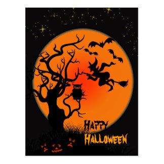 Halloweenhexe-und -eulen-Halloween-Postkarte