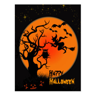Halloweenhexe-und -eulen-Halloween-Postkarte Postkarten