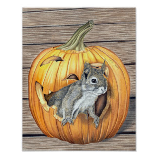 Halloweenhörnchen - Farbstiftzeichnung Poster